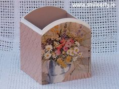 #Handmade holder and container in soft pastel colours for hair or makeup brushes and combs made with #decoupage. #Gift for women who love unique things in their home.