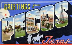 Greetings from Peco, Texas - Large Letter Postcard Pecos Texas, Lone Star State, West Texas, Texas Travel, Large Letters, Photo Postcards, Vintage Travel, Historical Photos, Custom Framing