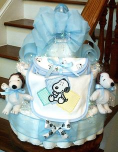 Snoopy themed baby shower diaper cake