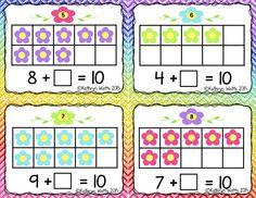 Spring Make 10 Center 1st Grade Math, Kindergarten Math, Fun Math, Activities For Kids, Montessori, Plant Crafts, Math Strategies, Adding And Subtracting, Spring Theme