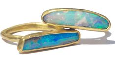 Margery Hirschey gold opal wedge rings