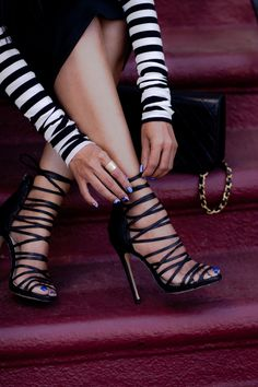 Excellent Trendy Strappy Black Heels