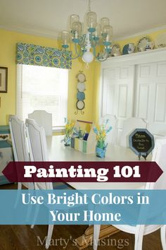 How to use Bright Paint Colors in Your Home - Marty's Musings Behr Ultra Premium Plus Eggshell Enamel in Duron color Yellow Begonia Bright Paint Colors, Paint Color Schemes, Yellow Walls, Yellow Bedroom Paint, Bright Paintings, Shabby, Cottage, Yellow Painting, Country Decor
