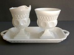 Milk Glass Sugar Bowl & Creamer Set with Tray by GentlyKept