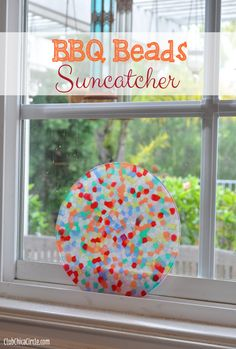 Melted Pony Beads on BBQ Suncatcher Tween Craft Idea - Yes- beads melted using a BBQ grill