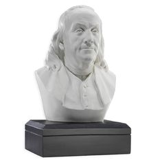 Benjamin Franklin - Houdon Bust This portrait sculpture showing the head and shoulders of Benjamin Franklin. The heavily weighted black base measures 5 x 6 1/2. The overall height of the bust is 12 x 6.75 wide x 5.25 deep. Also available in a 9 high size (9 W x 5 H x 4 D) in bronze finish over polyresin.  This portrait sculpture of Benjamin Franklin is a reprodution of the original marble bust which was crafted by the great French neoclassical sculptor Jean-Antoine Houdon.