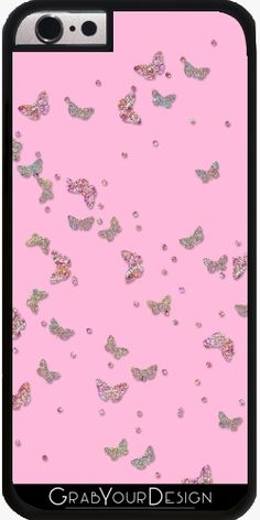 Case for Iphone 6/6S - Glitter butterflies effect on pink - by UtArt