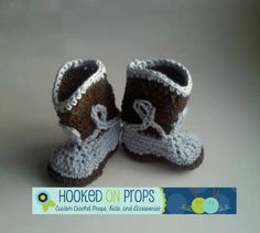 Cowboy Boot Booties for Baby Boy - Crochet in Chocolate Brown and Blue - Newborn - 6 months on Etsy, $22.00
