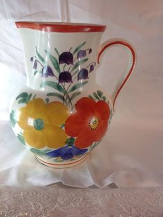 VINTAGE CZECH PEASANT POTTERY PITCHER WITH FLOWERS