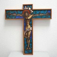 XL Art Deco Crucifix Cross H51cm, Handpainted Stained Opaline Glass Artisan Handcrafted Jesus Christ Christian Catholic Wall Decor Catholic Art, Religious Art, Turquoise Blue Color, Wall Crosses, Spiritual Gifts, Opaline, Art Deco Design, Crucifix, Unique Art