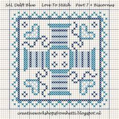 Creative Workshops from Hetti: SAL Delft Blue Love Biscornu pattern
