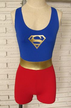 Super Woman Singlet Biketard Costume Made to by HarmonyThreads, $60.00