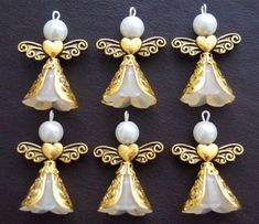 Sh 9 Angel Charms Pendants Lucite Frosted Flowers 2 Tones Xmas Tree Decoration