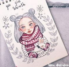 31 ideas for doodle art girl pictures Beautiful Drawings, Cute Drawings, Pretty Art, Cute Art, Tumblr Bff, Illustration Noel, Christmas Drawing, Graphic, Doodle Art
