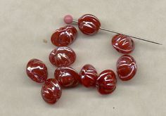 24 German Opaque Red Roundish Luster Glass Vintage Beads