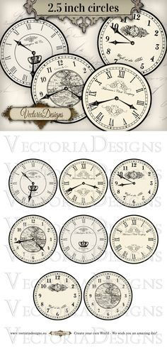 """8 large vintage inspired clock images, each 7.5"""" diameter: 4 different clocks with handles and 4 without handles. You can use these to print on fabric transfers, for decoupage, for scrapbooking, fo..."""