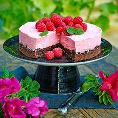 Rasberry mousse and chocolate cake - Recipie in swedish Baking Recipes, Cake Recipes, Dessert Recipes, Swedish Recipes, Sweet Recipes, Köstliche Desserts, Delicious Desserts, Kolaci I Torte, My Dessert