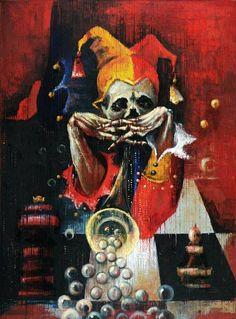 """Last Yorik: En Passant""  130 x 97 cm, oil on canvas by Artist Anna Ravliuc Price on application: annasnail@email.com Gothic Artwork, Dark Artwork, Dark Art Paintings, Original Paintings, Anna, Eye Painting, Ancient Symbols, Macabre, Art For Sale"