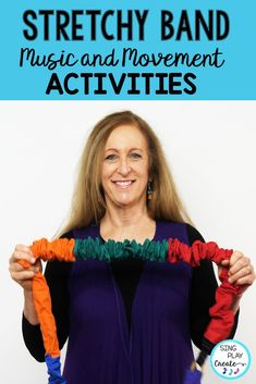 One sure way to get your student moving and learning is with Stretchy Band Activities. Use stretchy bands for all of your music and movement activities. I'm sharing some ideas on using stretchy bands to help children learn music concepts and practice directional movements. #stretchybands #singplaycreate #musicandmovement #preschoolactivities #PEactivities #musictherapyactivities