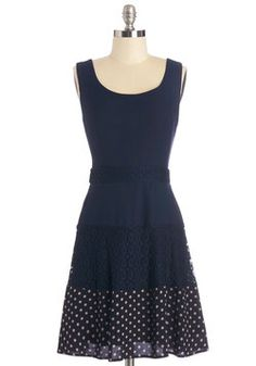 Navy Next Time Dress. The night is still young, but you just cant help but imagine the ways you can rock this navy dress for all the outings that fill your schedule! #blue #modcloth