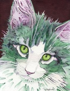 Whimsical cat art in watercolor by Lori Alexander Watercolor Cat, Watercolor Animals, Gatos Cat, Here Kitty Kitty, Cat Paws, Beautiful Cats, Crazy Cats, Pet Portraits, Pet Birds