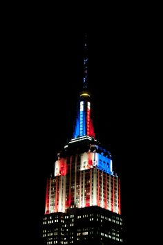November 4, 2014: The Empire State Building is illuminated in red, white and blue with real-time results from the midterm Senate races, courtesy of CNN.