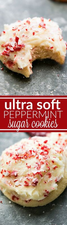 The Softest and most CHEWY Peppermint Sugar Cookies with a Peppermint Cream Cheese Frosting. Via chelseasmessyapron.com