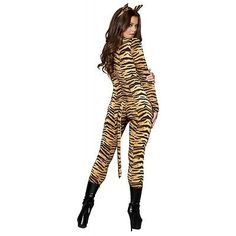 Sexy Tiger Costume for Women Adult Cat Suit Halloween Fancy Dress