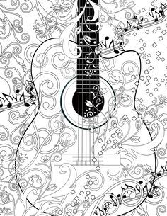Adult Coloring Page Printable Adult Guitar by JuleezGallery . - Coloring Pages Adult Coloring Book Pages, Free Coloring Pages, Printable Coloring Pages, Colouring Pics, Coloring Sheets, Coloring Books, Unique Drawings, Colorful Drawings, Poster Colour
