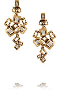 Oscar de la Renta|Square gold-plated crystal clip earrings |NET-A-PORTER.COM