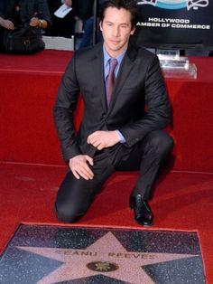 Keanu Reeves & his star on the sidewalk