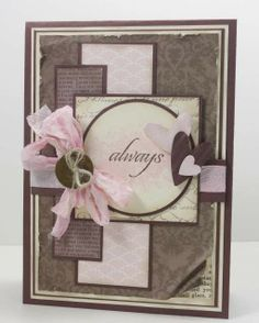 by Narelle Farrugia: Stamplicious 1-8-13.  SU stamps: Affection Collection, En Francais.  SU Papers: Soft Suede cs, Very Vanilla cs, Pink Pirouette dsp stack, Soft Suede dsp stack, Newsprint dsp. Brocade Background DSP, Twitterpated DSP. Very Vanilla seam binding ribbon. Challenges: Mojo Monday #275/ The Paper Players #127.