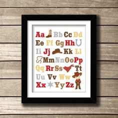 ABC Cowboy Boy Themed Nursery Print in a 8 x 10 by AmyRoseDesigns, $15.00