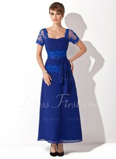 A-Line/Princess Sweetheart Ankle-Length Chiffon Tulle Mother of the Bride Dress With Lace Beading Sequins Bow(s) (008014546)