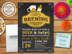 A Baby is Brewing Invitation, BBQ Baby Shower Invitation, Baby Q Shower Invitations, BabyQ Invitation, Coed Shower, Chalkboard Invite by GreatOwlCreations on Etsy https://www.etsy.com/listing/272426584/a-baby-is-brewing-invitation-bbq-baby