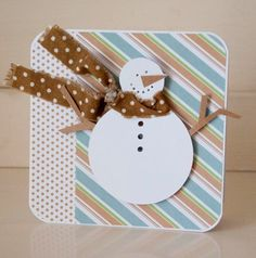 Handmade Christmas Card Snowman Blue and Brown by CardinalBoutique, $2.75