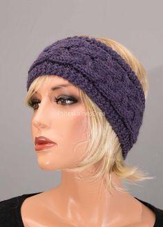 Bandeau, cache-oreilles, headband, avec torsades, pure laine, pour femme, tricoté main Bonnets, Pulls, Knitted Hats, Winter Hats, Beanie, Knitting, Fashion, Gloves, Hat