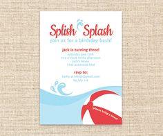 Printable Pool Party Invitation - Splish Splash Birthday Party Invitation - DIY Pool Party Invitation - Summer Birthday Party