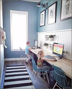 While mommy and daddy meet with contractors, clients and shop for finishes. - While mommy and daddy meet with contractors, clients and shop for finishes… this is what these tw - Kids Homework Room, Kids Homework Station, Kid Desk, Office Interior Design, Home Office Decor, Office Interiors, Design Ppt, Design Ideas, Kids Office