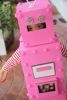 Pink robot costume. I don't think I am quite this crafty. But hey, it is a pink robot, which IS what Parker wants.