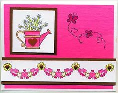 Watering Can of Flowers Card, Stamps, & DIY Directions from GreatImpressionsStamps.com