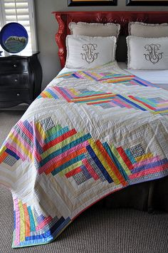 Log Cabin Quilt with Mirror Ball Dot Fabric Love the white with colour!!