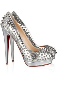 Christian Louboutin Alti 160 Spiked Metallic Leather Pumps $1,495 or the I can make you bleed pumps!