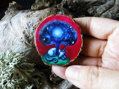 Where the Night is born - unicorn tree brooch OR pendant - Hand painted on wood - by Amaya de la Hoz