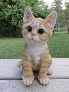 Calico and White Cat Figurine Kitten 8 in Animal Farm Resin Sitting Straw Box   eBay