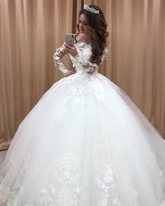 Gorgeous Princess Wedding Gowns Long Sleeve Lace Applique Church Formal Bride Dresses Tulle Ball Gown Bridal Dress Custom Made Wedding Dress Trends, Long Wedding Dresses, Princess Wedding Dresses, Tulle Wedding, Bridal Dresses, Wedding Gowns, Wedding White, Wedding Dresses With Flowers, Elegant Wedding