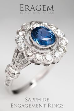 For an engagement ring, blue sapphire is a great choice! Sapphires are durable, their beautiful blue is captivating and really sets them from apart from a traditional diamond center stone.