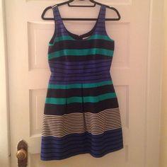 Loft A-line stipped dress Fun LOFT a line dress. Blue greens white stripped LOFT Dresses Asymmetrical