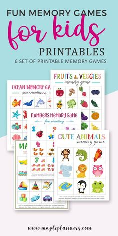 Planning to travel or dine out at a restaurant? These fun and interactive memory games for kids are sure to keep them busy for hours. Card Games For Kids, Free Games For Kids, Memory Games For Kids, Educational Games For Kids, Printable Activities For Kids, Free Printables, Preschool Worksheets, Free Activities, Kids Planner