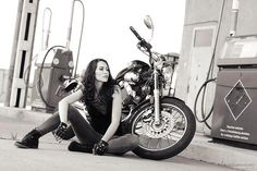 Lovely black and white motolady photography by Radu Carnaru.    YAMAHA XV